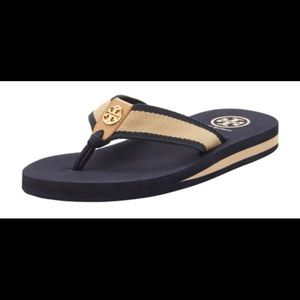 Tory Burch Navy Tan Thong Flip Flop